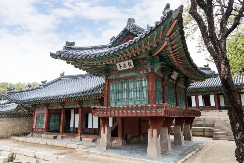 在昌德宫宫殿的木大厦在汉城 库存图片
