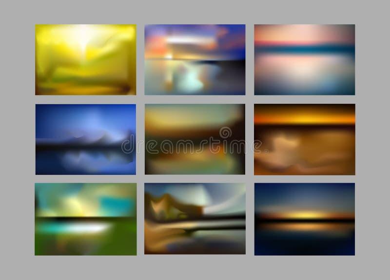 在明亮的彩虹颜色的五颜六色的梯度滤网背景 摘要被弄脏的光滑的图象 色的容易的编辑可能的软性 向量例证