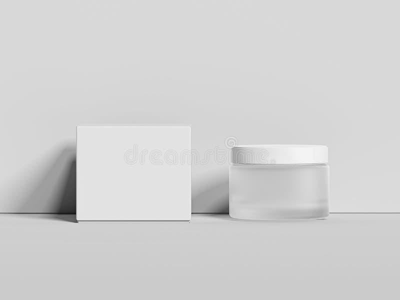 在明亮的背景和箱子的白色空白的瓶子隔绝的奶油 3d翻译 图库摄影