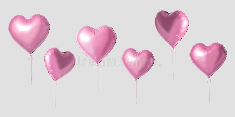 在明亮的背景的许多桃红色心脏气球 最小的爱概念 免版税库存图片