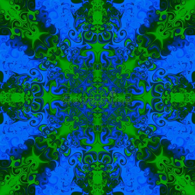 在明亮的蓝色背景的装饰绿色样式 皇族释放例证