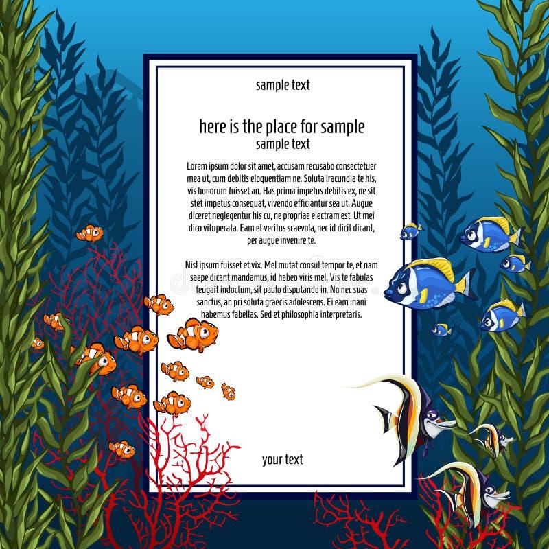 在明亮的颜色和垂直的卡片的海洋生物 向量例证
