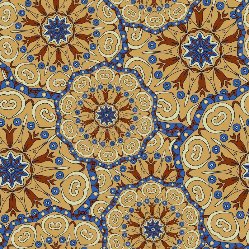 在明亮的颜色的坛场纹理 在印地安样式的无缝的样式 抽象背景向量 库存例证