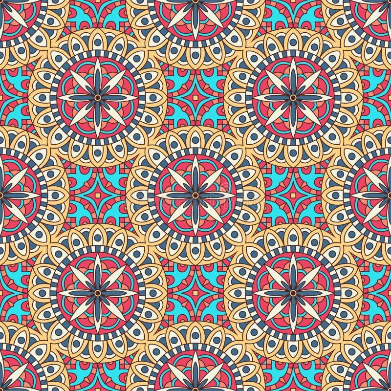 在明亮的颜色的坛场纹理 抽象背景向量 在印地安样式的无缝的样式 皇族释放例证