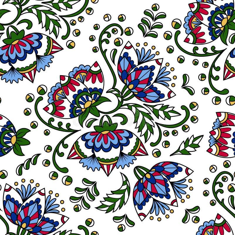 在明亮的颜色的花卉种族无缝的样式在白色backgro 向量例证