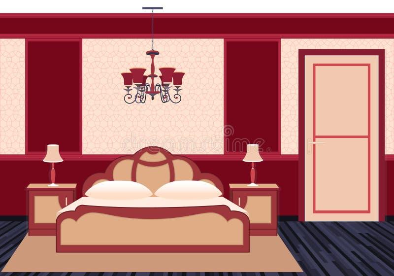 在明亮的颜色的经典卧室内部 库存例证