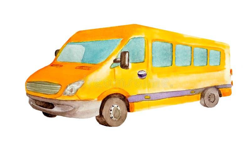 在明信片的,名片白色背景或出租汽车隔绝的水彩橙色微型公共汽车 皇族释放例证