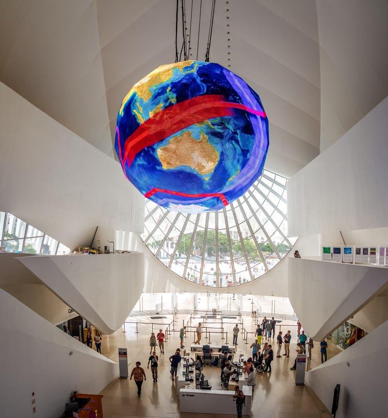 在明天博物馆的门厅或Museu做Amanha内部-里约热内卢,巴西 库存照片