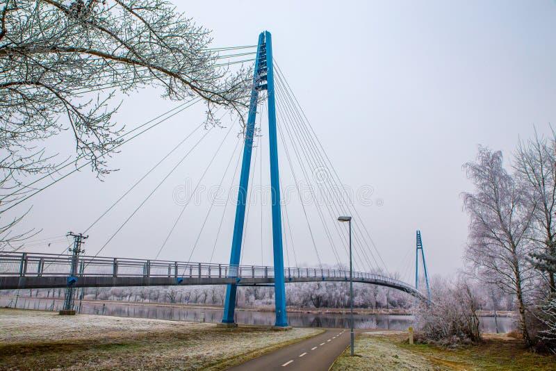 在易北河河Celakovice上的桥梁,捷克Rep 库存照片