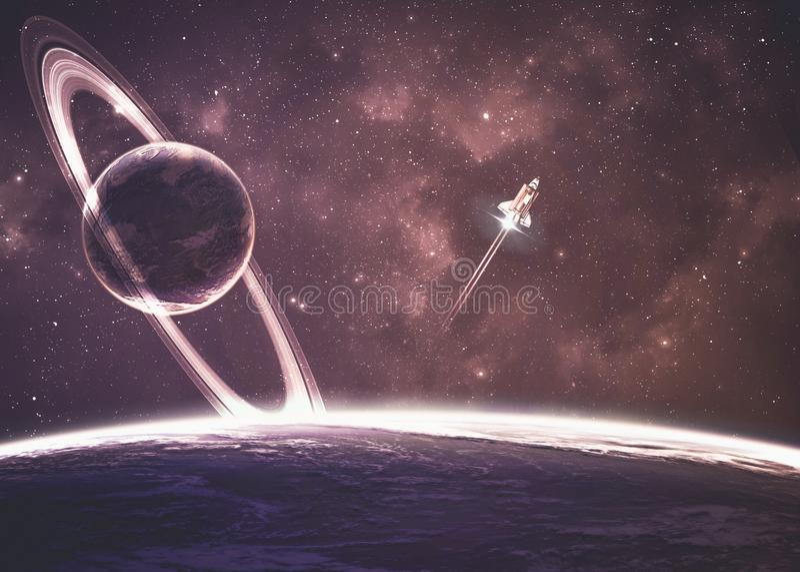 在星云的行星在空间 皇族释放例证