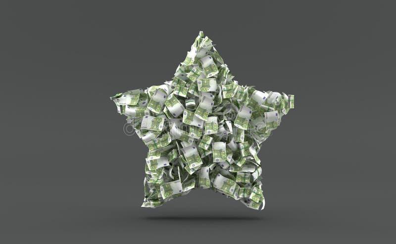 在星形状的欧元货币 向量例证