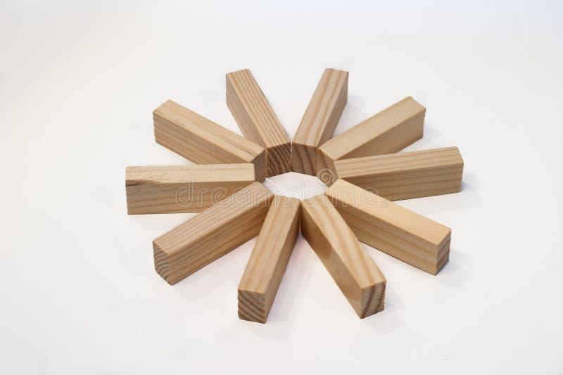 在星形环形的木砖 图库摄影