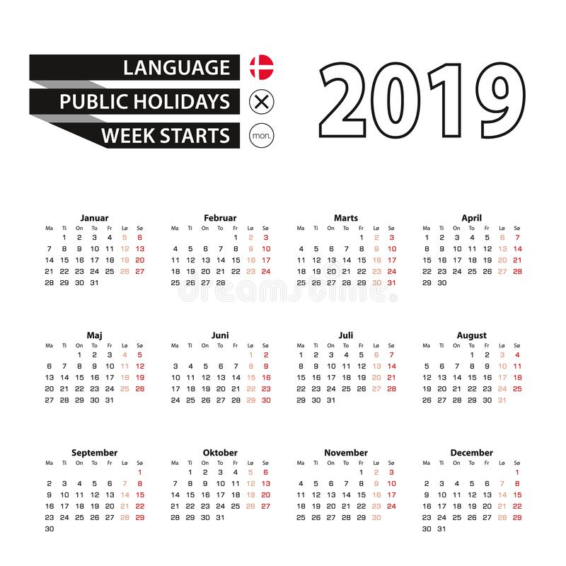 在星期一,排进日程2019年在丹麦语语言,星期开始 库存例证
