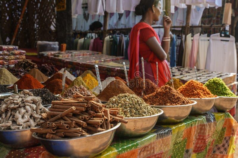 在星期三市场上的不同的香料在Anjuna 图库摄影