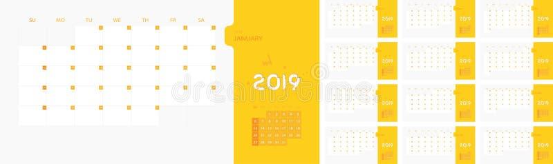 在星期天,日历设计模板为2019简单的计划者星期开始 设计与地方的印刷品模板商标公司的 平的ve 向量例证