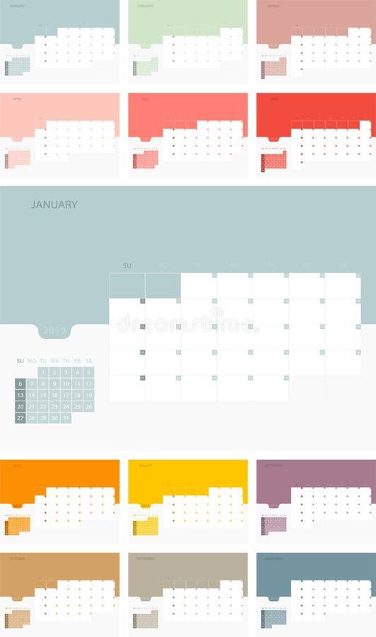 在星期天,日历设计模板为2019简单的计划者星期开始 设计与地方的印刷品模板商标公司的 平的ve 库存例证