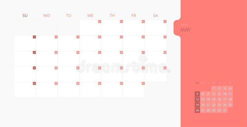在星期天,日历2019简单的计划者的设计模板为5月月,星期开始 设计与地方的印刷品模板商标的c 库存例证