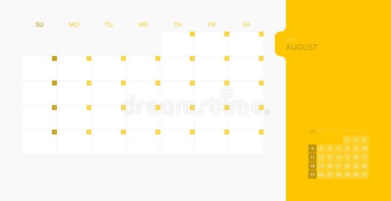 在星期天,日历2019简单的计划者的设计模板为8月月,星期开始 设计与地方的印刷品模板日志的 皇族释放例证
