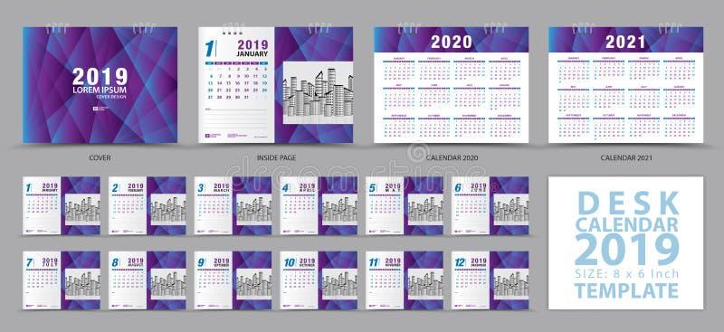 在星期天,桌面日历2019年模板,套12个月,日历2019年2020年,2021年艺术品,计划者,星期开始 皇族释放例证