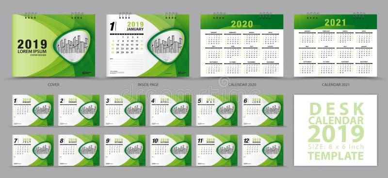 在星期天,桌面日历2019年模板,套12个月,日历2019年2020年,2021年艺术品,计划者,星期开始 向量例证