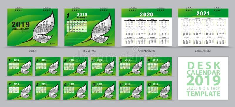 在星期天,桌面日历2019年模板,套12个月,日历2019年2020年,2021年艺术品,计划者,星期开始 库存例证