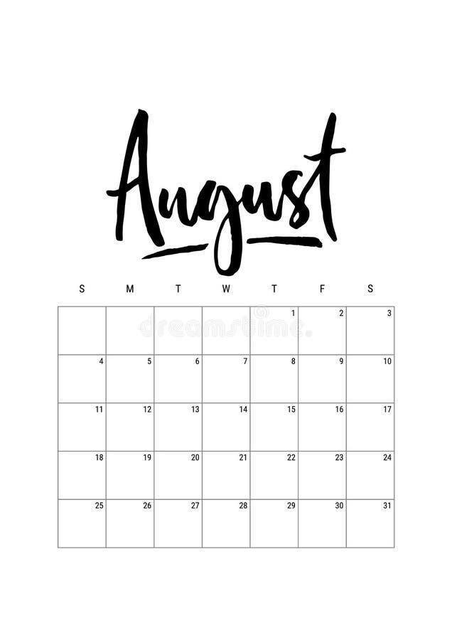 在星期天,8月日历计划者2019年,星期开始 一部分的套12个月传染媒介图片