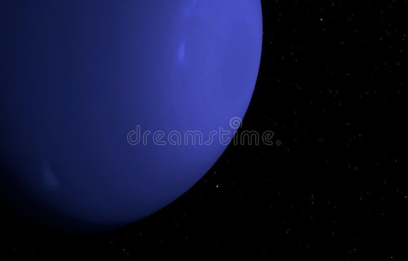 在星背景的行星海王星 3d例证 向量例证