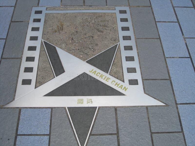 在星胡同,香港的杰基Chans星 免版税库存照片