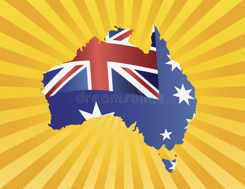 在映射剪影的澳洲标志在太阳光芒 向量例证