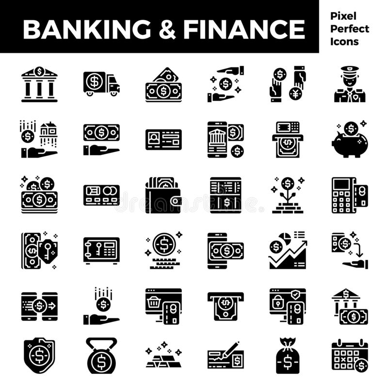 在映象点完善的64px的银行业务和财务坚实象基地 库存例证