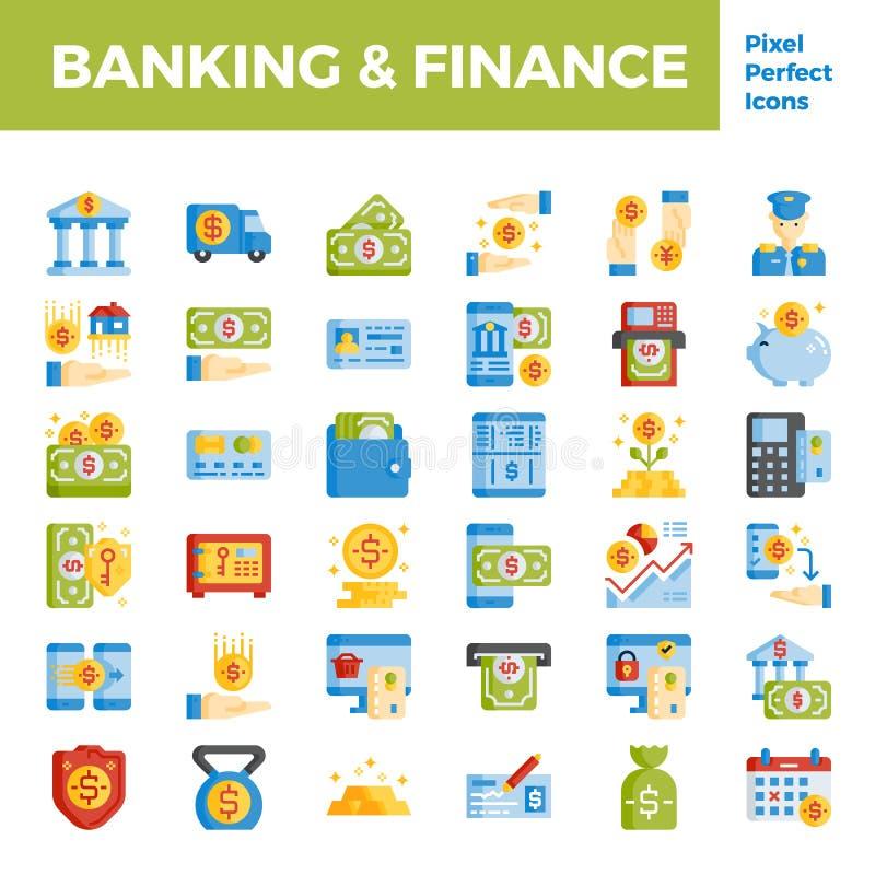 在映象点完善的64px的银行业务和财务平的象基地 向量例证