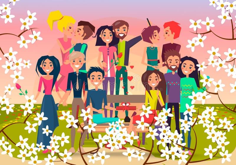 在春天开花的正方形的许多爱恋的夫妇 库存例证