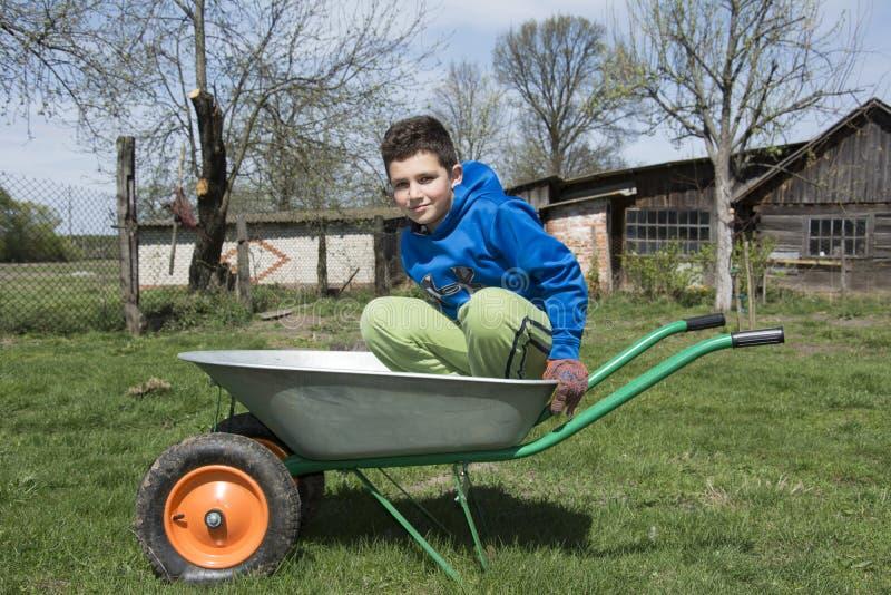 在春天有推车的一个男孩在围场 库存照片