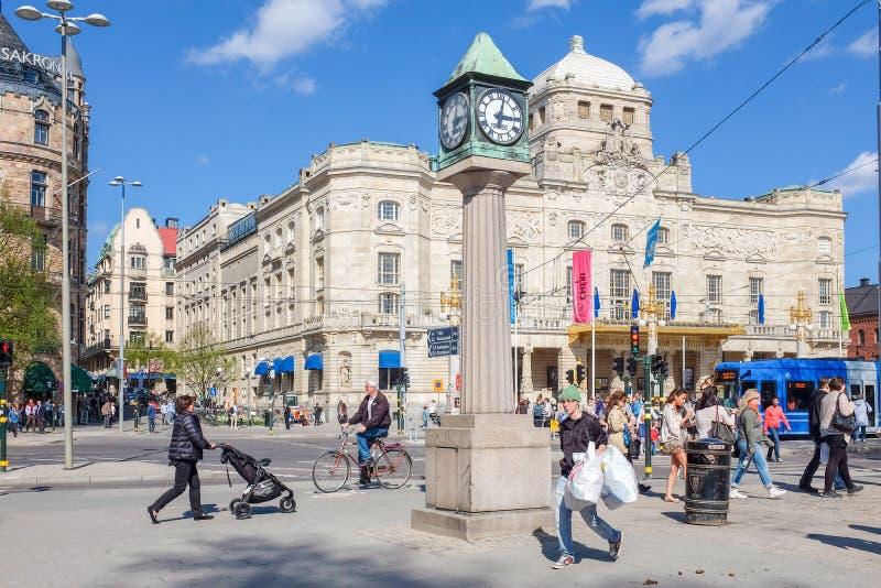 在春天期间的皇家剧烈的剧院在斯德哥尔摩 免版税库存图片