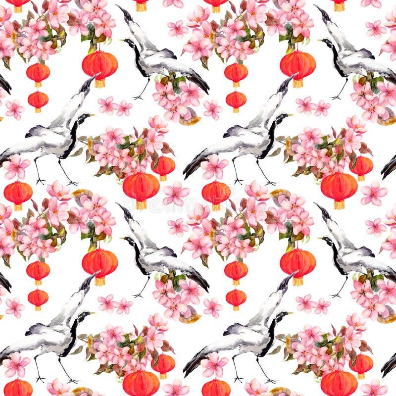 在春天桃红色的红色中国灯笼开花-苹果、李子、樱桃、佐仓和跳舞起重机鸟 无缝的模式 皇族释放例证