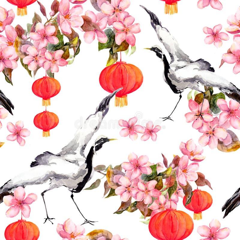 在春天桃红色的红色中国灯笼开花-苹果、李子、樱桃、佐仓和跳舞起重机鸟 无缝的模式 库存例证