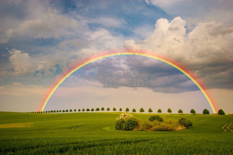 在春天风暴以后的彩虹 免版税库存照片