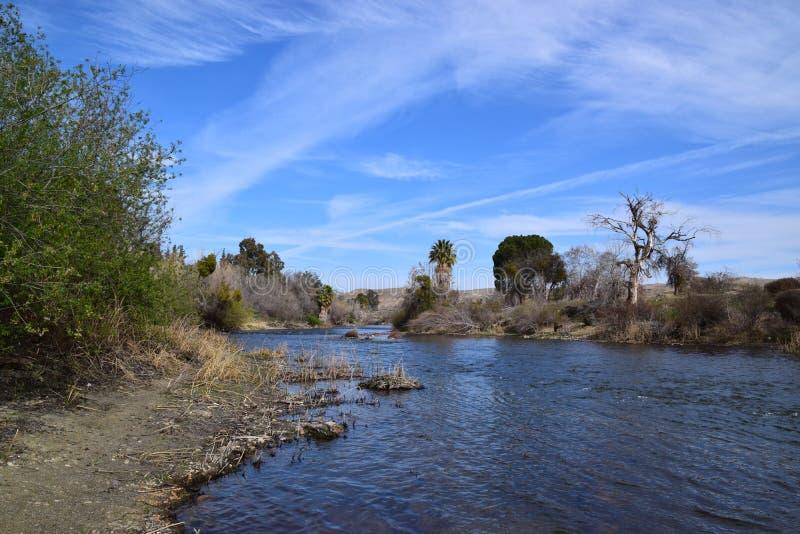 在春季期间的晴天,克恩河看法在牡鹿公园,倍克斯城,加州附近的 免版税库存照片
