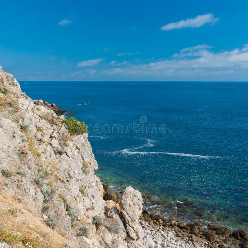 在春季的狂放的黑海岸 库存照片