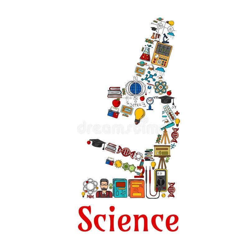 在显微镜形状的科学标志  库存例证