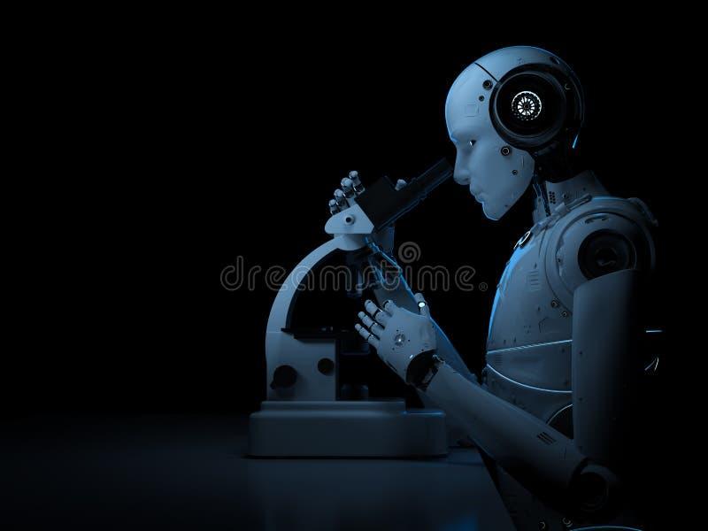 在显微镜的机器人工作 免版税库存图片