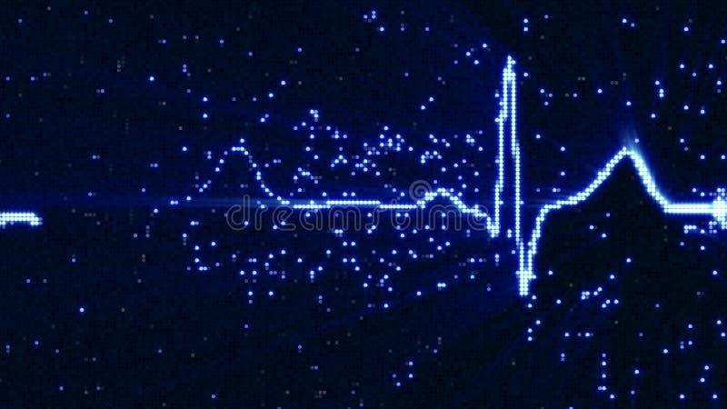 在显示器的发光的蓝色ekg心电图信号波形