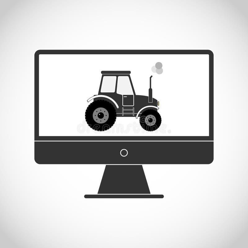 在显示器的拖拉机 库存例证