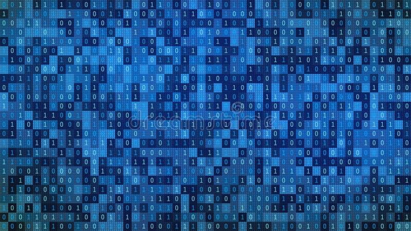 在显示器的01或二进制数在显示器矩阵在黑客的背景,数字资料代码或安全安全 向量例证