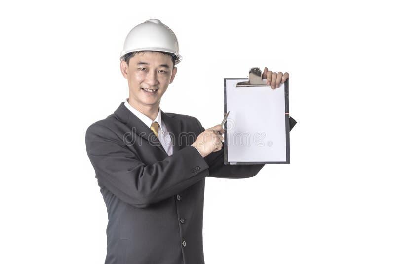 在显示在剪贴板的盔甲的男性白纸 库存照片