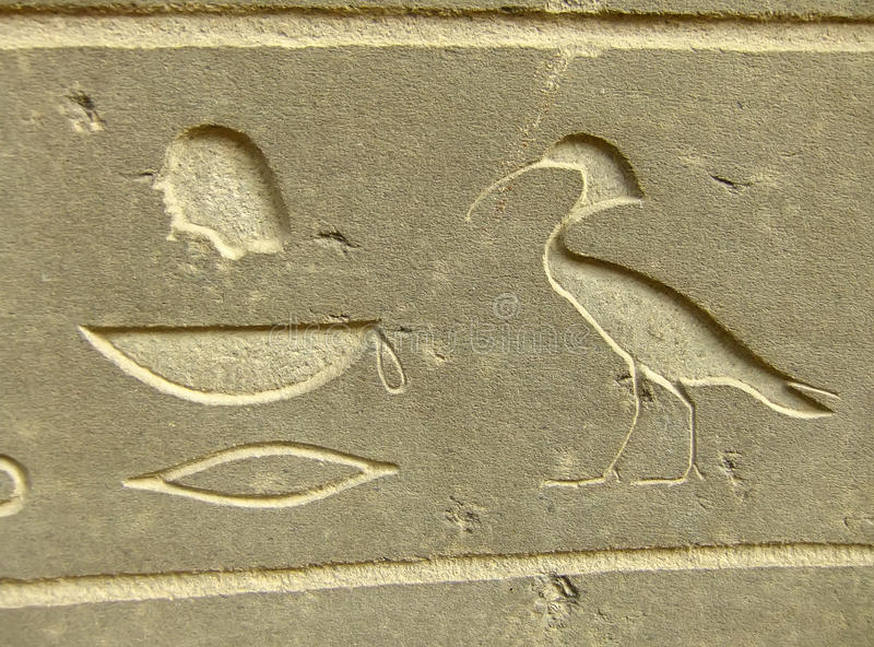 在显示外部埃及博物馆,开罗的古老象形文字 免版税库存图片