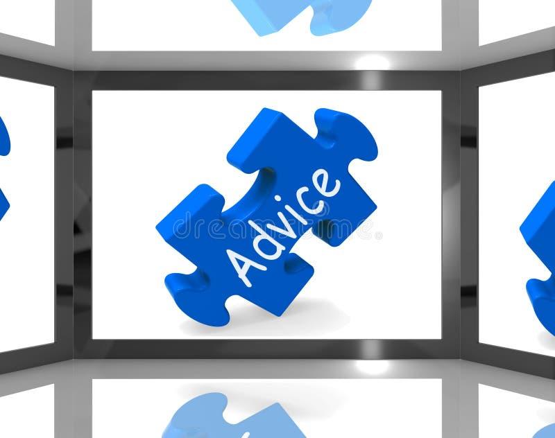 在显示情况通知的电视节目的屏幕上的忠告 库存例证