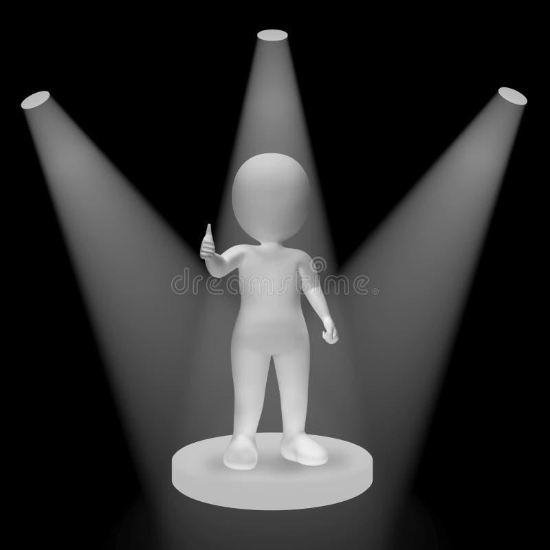 在显示成功名望和Performan的字符的白色聚光灯 皇族释放例证
