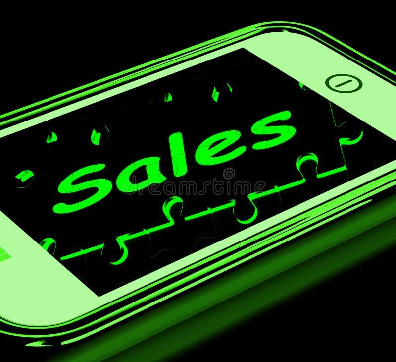 在显示流动行销的智能手机的销售 皇族释放例证