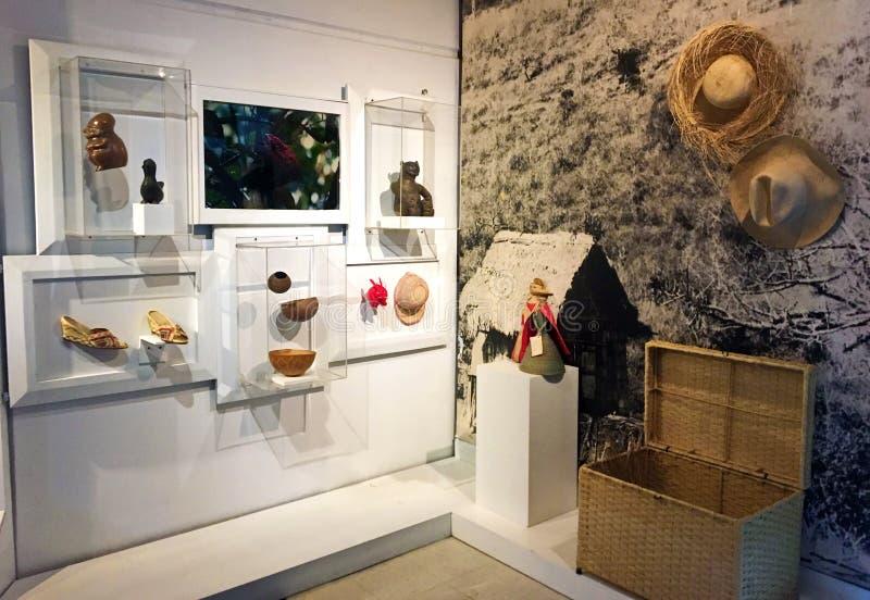 在显示的人工制品在Pumapungo博物馆在昆卡省,厄瓜多尔 免版税库存图片